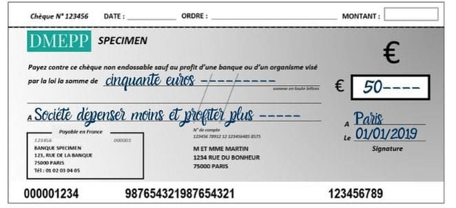 faire un chèque date
