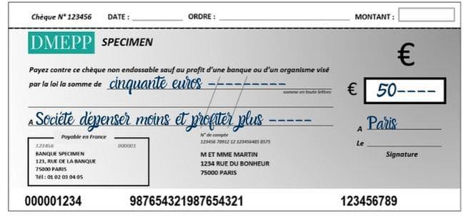 faire un chèque lieu